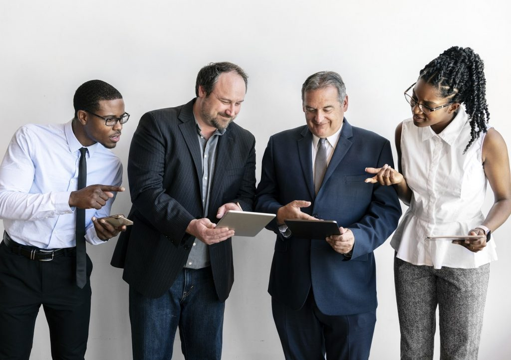 equipo de negocio online